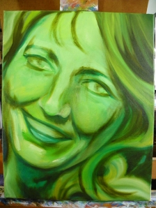 GreenWoman painting in progress