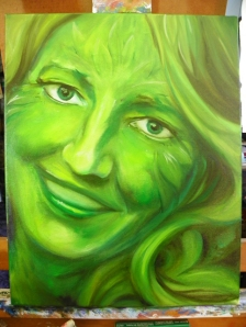 Green Woman painting in progress