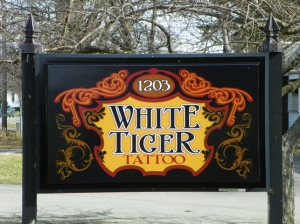White Tiger Tattoo Webster sign