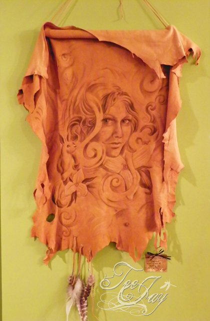 deer hide wall hanging
