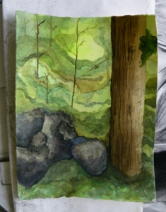 watercolor painting of woods by Jessica Dill