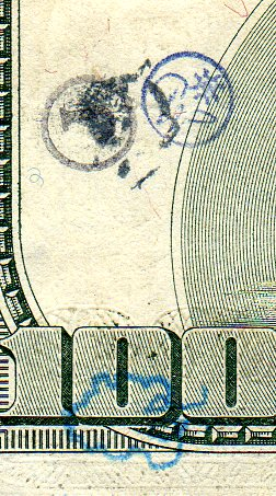 multiple stamps on $100 bill