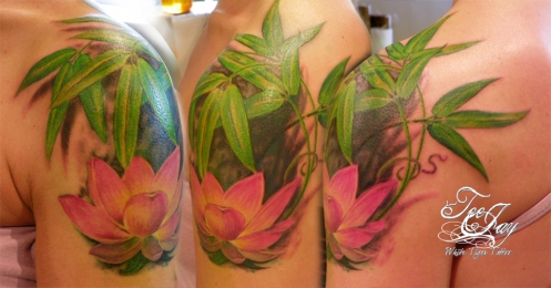 Lotus with Bamboo tattoo