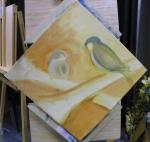 TeeJay bird and crossbones painting in progress