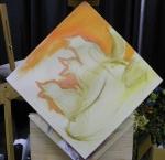 TeeJay birds and heart painting in progress