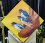 TeeJay heart and birds painting in progress