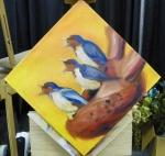 TeeJay heart and bird painting in progress