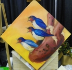 Heart and birds painting in progress