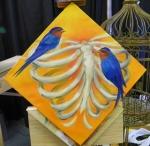 TeeJay ribs and birds painting in progress