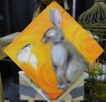 TeeJay bird and bunny painting in progress