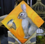 bird and bunny painting in progress