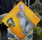 TeeJay bird and bunny painting in progress