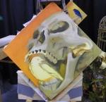 TeeJay skull and bird painting in progress
