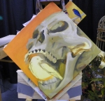 TeeJay skull and bird painting in progress