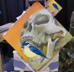 TeeJay bird and skull painting in progress