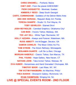 Artists attending Wet Paint Hell City 2012