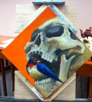 skull and bird painting in progress