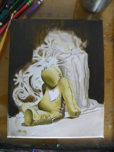 voodoo doll painting in progress