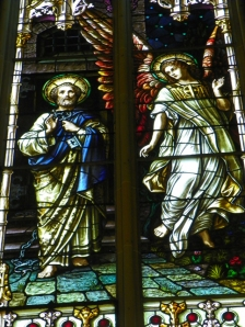 Receiving the Keys to Heaven stained glass
