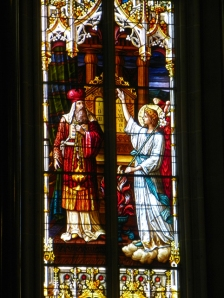 Moses receiving Commandments in Stained Glass