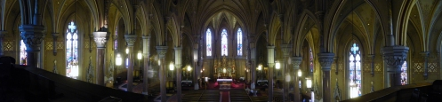 panoramic photo of interior of St Michaels church Rochester NY