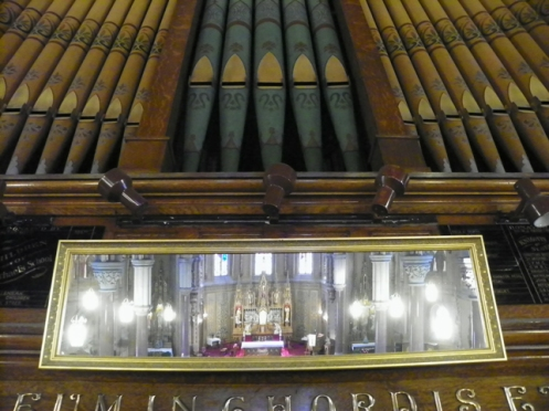 altar reflected in organists mirror