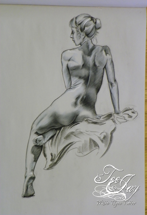figure drawing seated female figure back