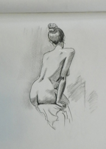 figure drawing seated female back