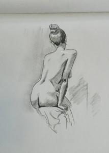 figure drawing seated female back