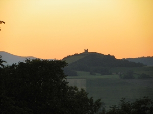 Church on Hill at sunset outside of Billom