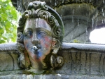 head on fountain with residual spray paint