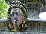 head on fountain with residual spray paint