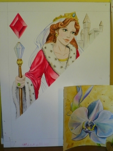 Queen of Diamonds and Orchid watercolors