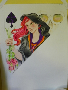 Queen of Spades watercolor