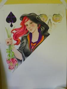 Queen of Spades watercolor