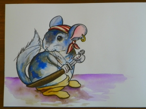 chinchilla watercolor painting pirate