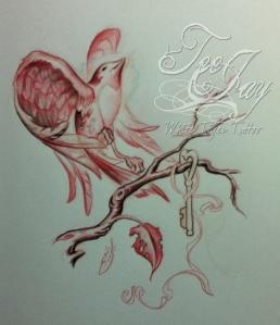 bird letting go drawing