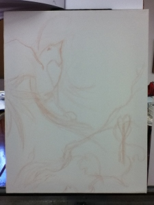 bird painting in progress