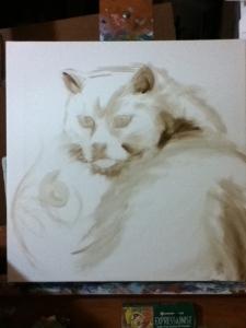 fat kitty painting in progress