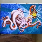 Octobunny watercolor painting