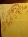 Queen of Diamonds pencil sketch