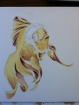 goldfish watercolor in progress