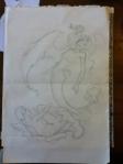 winged mermaid line drawing