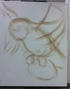 owl painting in progress