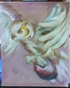 owl painting in progress