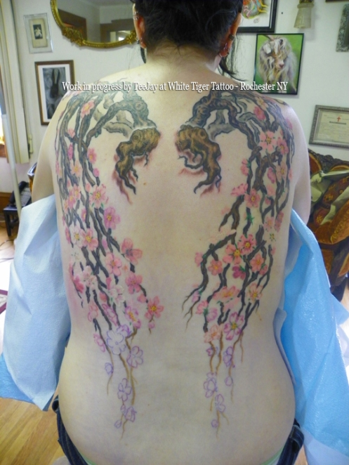 dryad,tattoo,back,wings,cherry blossoms