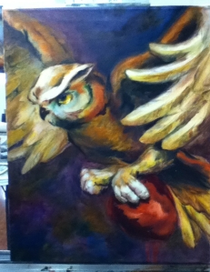 owl with heart painting in progress
