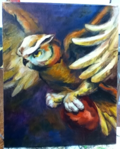 owl and heart painting in progress