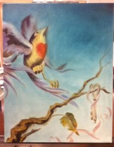 bird and key painting in progress
