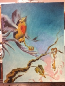 Bird painting with Steves background suggestions
